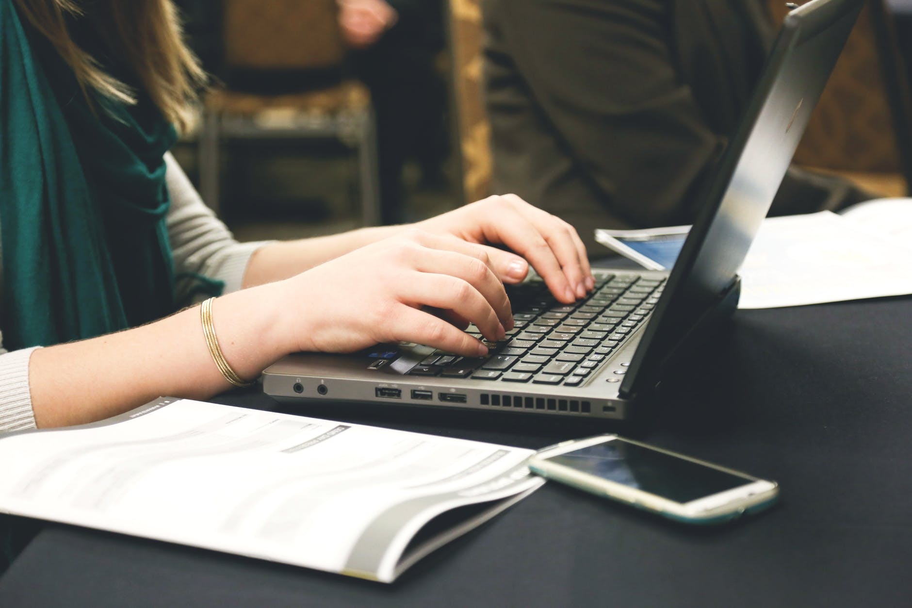 woman typing writing programming